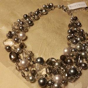 White House Black Market Jewelry - White House black market beaded clustered ncklce